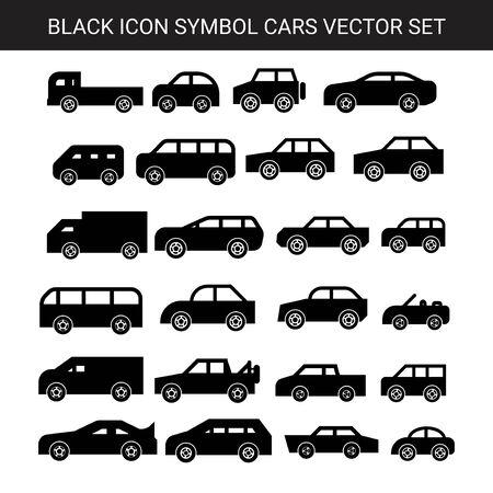 black flat geometric cars icon symbol vector set