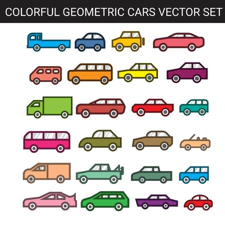simple flat colorful geometric cars vector set 스톡 콘텐츠 - 150307440