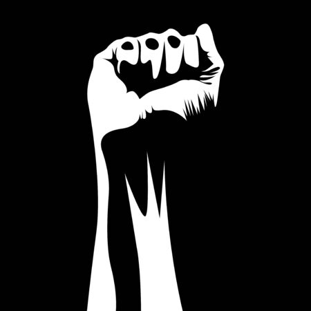 black and white fist hand silhouette vector