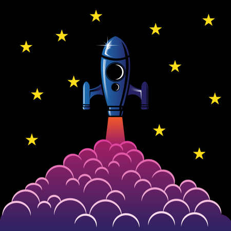 rocket launch at night sky background vector with cartoon style