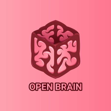 open box brain logo vector template 일러스트