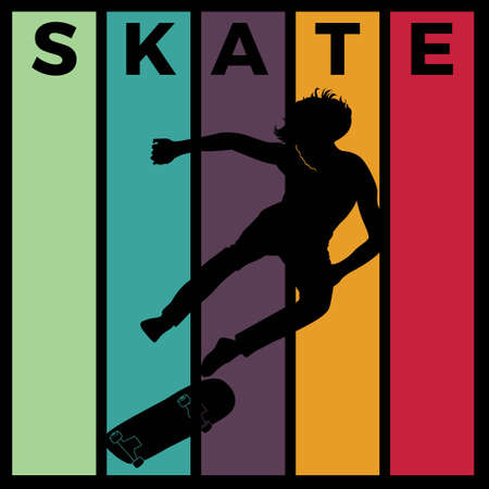 skateboard silhouette sport activity vector graphic 스톡 콘텐츠 - 150659246