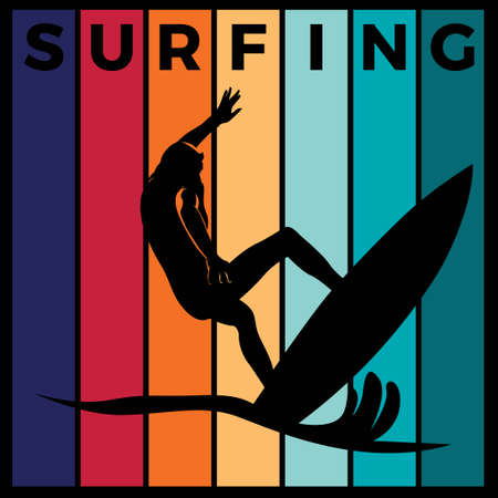 surfing silhouette sport activity vector graphic