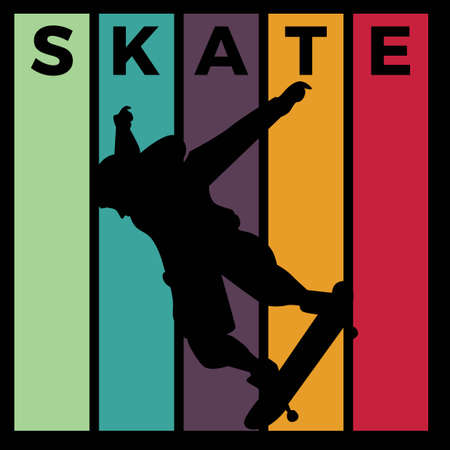 skateboard silhouette sport activity vector graphic 02 스톡 콘텐츠 - 150659661