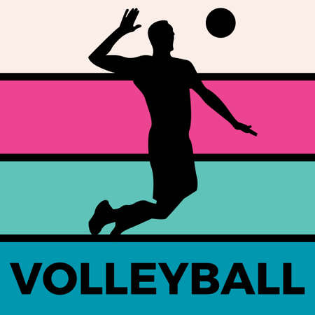 volleyball silhouette sport activity vector graphic