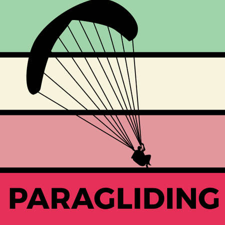 paragliding silhouette sport activity vector graphic