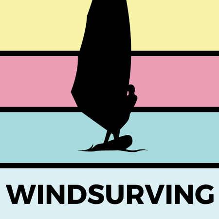 windsurving silhouette sport activity vector graphic Illustration