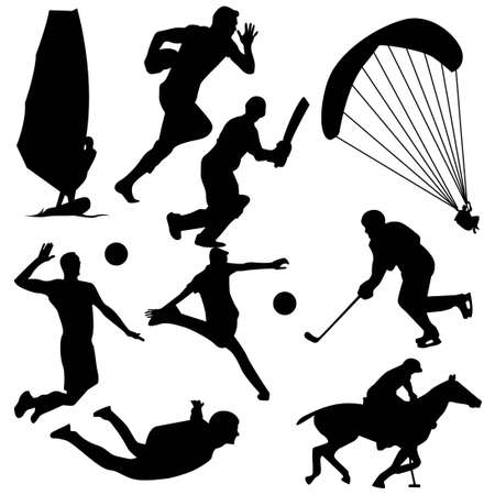 black silhouette of sports activity vector set 스톡 콘텐츠 - 151053641