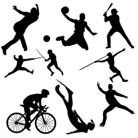 black silhouette of sports activity vector set 스톡 콘텐츠 - 151053642