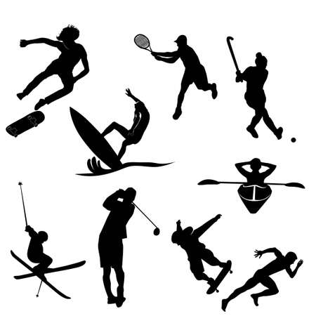 black silhouette of sports activity vector set 스톡 콘텐츠 - 151053643