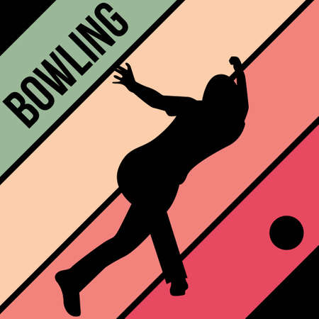 bowling silhouette sport activity vector graphic