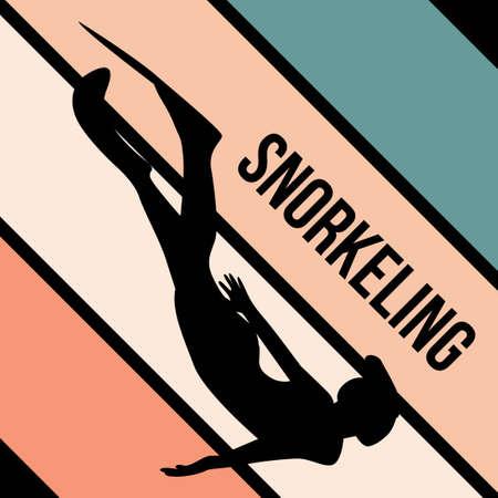snorkeling silhouette sport activity vector graphic