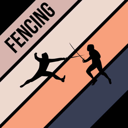fencing silhouette sport activity vector graphic
