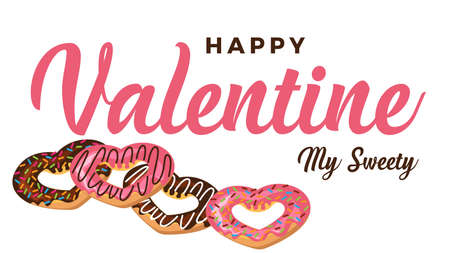 happy valentine day my sweety background vector with love heart donut 일러스트
