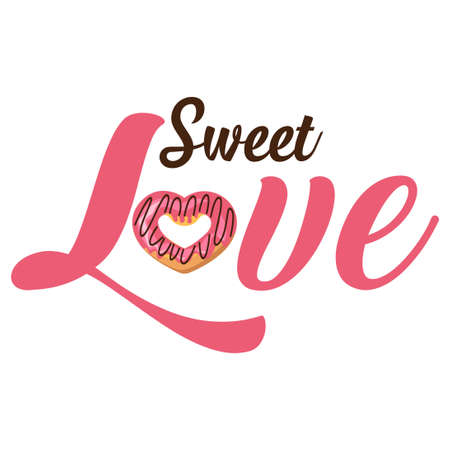 sweet love typography with donut icon vector 스톡 콘텐츠 - 150856844
