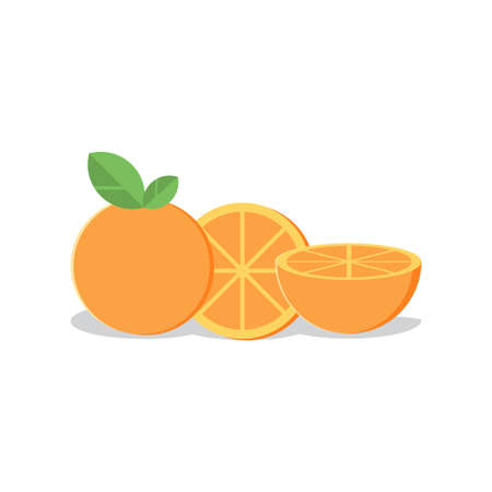 fresh orange fruit vector isolated on white background