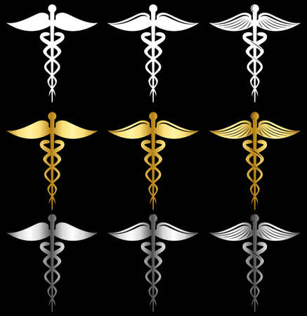 white gold  and silver Caduceus as a symbol of medicine vector set  イラスト・ベクター素材