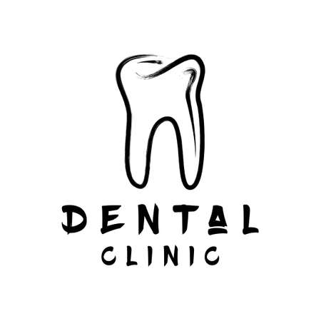 black and white dental care clinic logo with brush style 스톡 콘텐츠 - 151844322