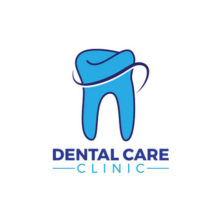 simple and modern blue dental care clinic logo  イラスト・ベクター素材