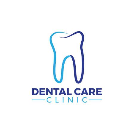 blue modern line dental care clinic logo