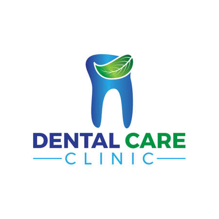 blue and green dental care clinic logo with leaf icon illustration  イラスト・ベクター素材