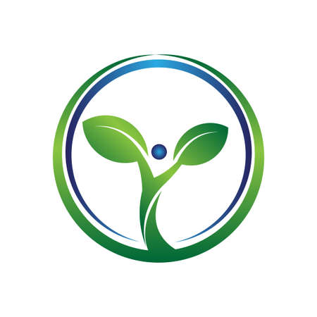 circle green and blue plant logo for inverontment company 일러스트