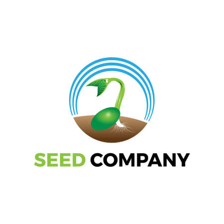 growing seed logo illustration for environtment agriculture farming gardening company 스톡 콘텐츠 - 151790677