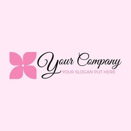 simple pink flower feminine logo vector template