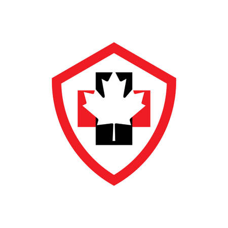 shield logo health care canada logo with cross and maple leaf 스톡 콘텐츠 - 152142319