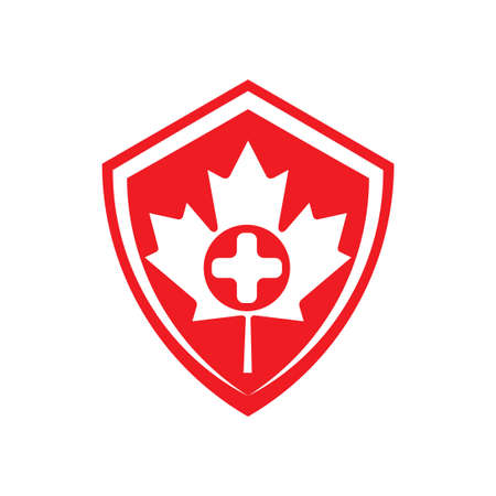shield logo health care canada logo with cross and maple leaf  イラスト・ベクター素材