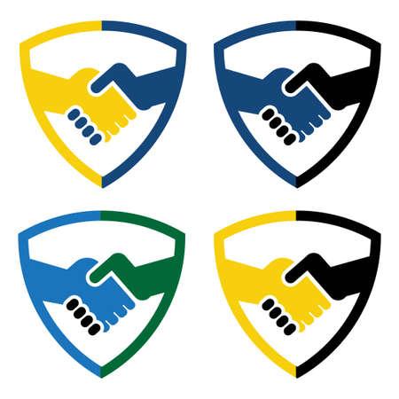 shield hand shake logo vector template