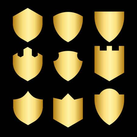 gold shield vector shapes bundle set