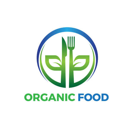 circle organic food logo with leaf spoon and fork illustration