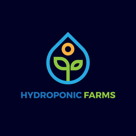 simple hydroponic farm line logo vector concept  イラスト・ベクター素材