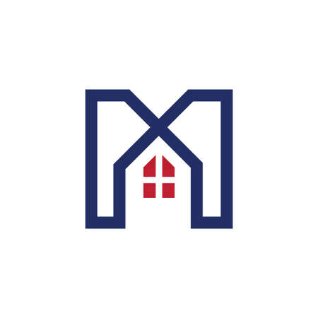 letter M house logo initial template vector  イラスト・ベクター素材