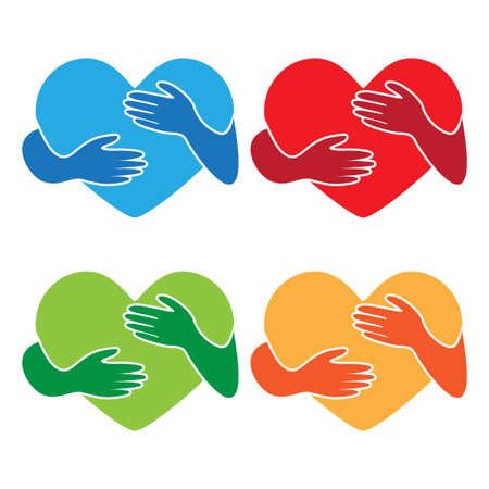 heart love with hug hand illustration vector bundle set