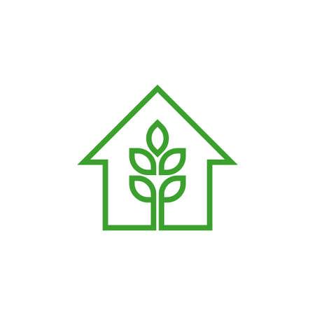 green house tree logo vector concept