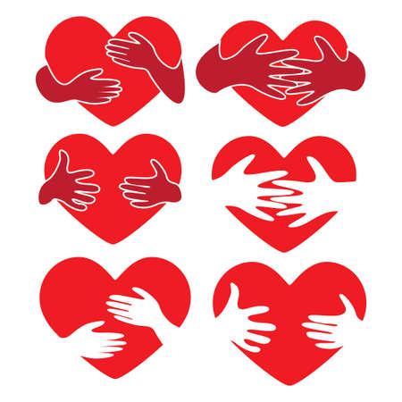 red heart with hug hand illustration vector bundle set