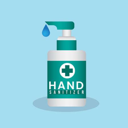 blue turquoise hand sanitizer pump bottle washing gel vector illustration