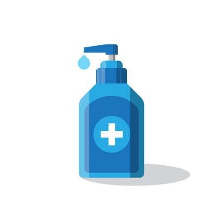 blue hand sanitizer pump bottle washing gel vector illustration  イラスト・ベクター素材