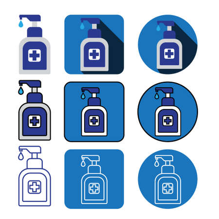nine different style hand sanitizer bottleicon vector bundle set