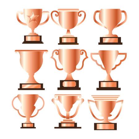 bronze trophy icon symbol vector bundle set