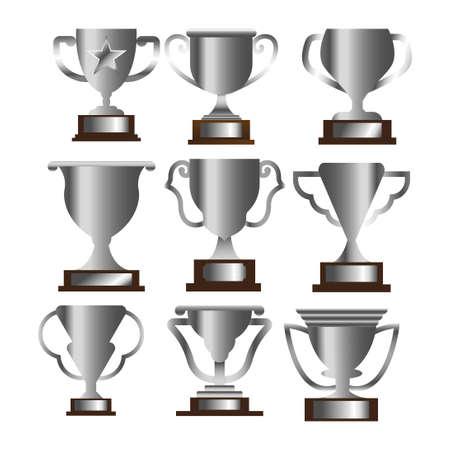 silver trophy icon symbol vector bundle set