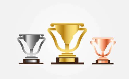 gold silver and bronze trophy vector illustration bundle set