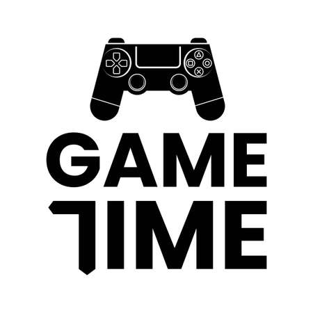 game time typography with game controller icon 일러스트