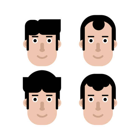 flat design of head character with different hair style