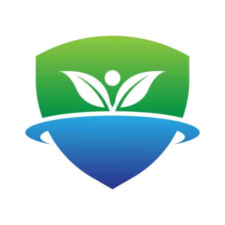 shield leaf environment logo vector template  イラスト・ベクター素材