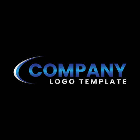 modern blue and silver company logo vector template