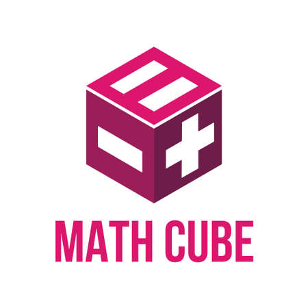 cube box logo with math symbol vector template  イラスト・ベクター素材