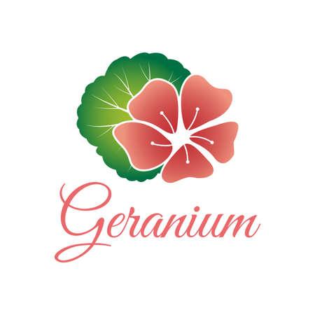 beautiful feminine geranium flower logo template